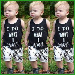 Wholesale Boys Suit Vests - summer boys clothing suits letters print sleeveless vest t-shirts short X geometric style pants I Do What I Want children clothes set