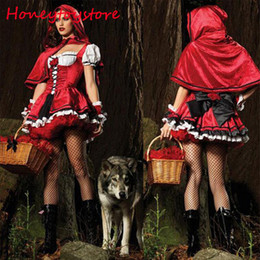 Wholesale Sexy Little Red Riding - High quality Sexy Cardinal Little Red Riding Hood Costume Small Red Cap Sexy Halloween Costumes for Women cosplay Party Dress