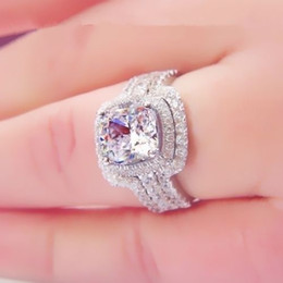 Wholesale Emerald Diamond Gold Rings - Victoria Wieck Emerald cut 8mm topaz simulated diamond 10KT White Gold Filled 3-in-1 Engagement Wedding Ring Set Size 5-11 Gift