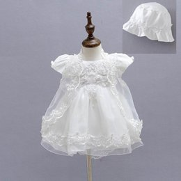 Wholesale Formal Dress Beige Beaded - New Baby Girl Baptism Christening Easter Gown Dress Embroidery Shwal Cap Formal Toddler Party Dresses 3PCS Set 1775