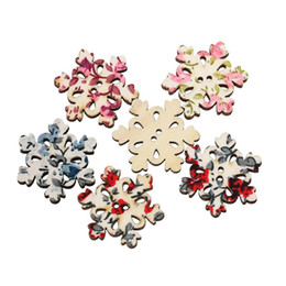 Wholesale Handmade Snowflake - Radom Mixed Wooden Buttons Mixed Color Snowflake Shape Applique 2 Hole Sewing DIY Handmade Craft In Bulk Buttons 3x2.6cm 50PCS I273L