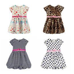 Wholesale Pink Polka Dot Bow - Girls Leopard Stripe Polka Dot Summer dresses girl short sleeve dress girls clothing bow kids princess dress
