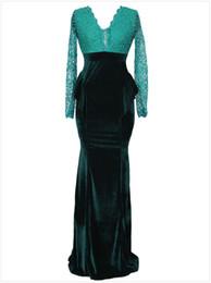 Wholesale Black Paisley Maxi Dress - 2016 Green Lace V Neck Long Sleeve Velvet Black Ruffle Pleat Floor Length Women Evening Dresses Free Shipping Green Women Party Dresses 105