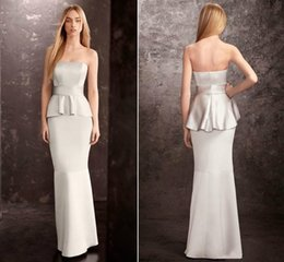 Wholesale Mature Sweetheart - Silver Mermaid Peplum Bridesmaid Dress Long Bridesmaid Dresses Strapless Wedding Guest Dresses For Mature Girl Formal Evening Dresses