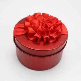 Wholesale Wedding Decorate Favor Box - Tins favor box for wedding birthday with ribbon flower shape decorating wed candy box favor tins party decoration box