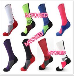 Wholesale Sport Compression Sock Wholesale - 8 color USA Professional Elite Basketball Socks Long Knee Athletic Sport Socks Mens brands new thick towel bottom Compression Thermal Socks