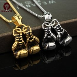 Wholesale Lovely Gloves - Wholesale- 2016 Gold Silver black Lovely Mini Boxing Glove Necklace Boxing match Jewelry Stainless Steel Cool Pendant for Men Boys Gift