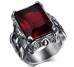 Wholesale Diamond Ring 5ct - New design Retro Series 5ct Diamond-Cut Ruby Valentine's Day Gift Ring Jewelry Red Diamond Women's silver Engagement Men's Punk Ring