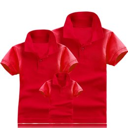 Wholesale Cotton Blank Polo - 65% polyester 35% cotton fabric blank polo shirt family papa mom and baby pure color polo shirt