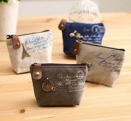 Wholesale Vintage Purse Coin Keychain - Vintage canvas bag Coin keychain keys wallet Purse change pocket holder organize cosmetic makeup Sorter Free Shipping