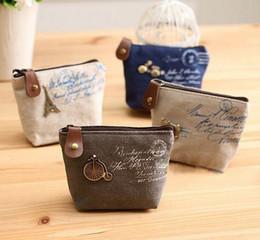 Wholesale Vintage Change Holder - Vintage canvas bag Coin keychain keys wallet Purse change pocket holder organize cosmetic makeup Sorter Free Shipping