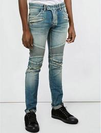 Wholesale Mens Slim Jeans Size 38 - Mens Blue Washed Denim Cotton BIKER JEANS Motorcycle Biker Denim NWT Size 28-38