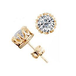Wholesale 14k Cz Earrings - Fashion Crown 18k Gold Earrings Women Brincos De Prata Men CZ Diamond Silver Crystal Jewerly Double Stud Earing Y048