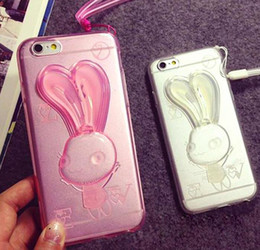 Wholesale white rabbit ears - Rabbit Ear Holder Stand Back Transparent TPU Case Cover for apple iphone 4 4s 5 5s iphone 6 6s iphone 6 6s plus
