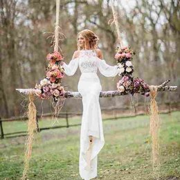 2019 robes de mariée gaine de jardin 2017 New Elegant Long Sleeves Robes de mariée en dentelle Sheath Jewel Décolleté Summer Country Garden Beach Chiffon longues robes de mariée robes de mariée gaine de jardin pas cher