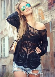 Wholesale Semi Sheer Sleeve Embroidery - Semi Sheer Women Long Sleeve Lace Shirts Blouses 2015 Spring Summer Embroidery Floral Lace Crochet Tops Hallow out Lace Blusas