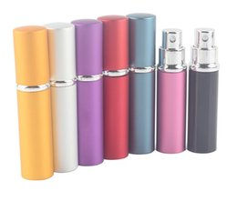 Wholesale Aluminum Cosmetic Bottles - 5ml Mini Spray Perfume Bottle Travel Refillable Empty Cosmetic Container Perfume Bottle Atomizer Aluminum Refillable Bottles