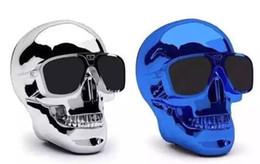 Wholesale Skull Phone Novelty - 50pcs lot Novelty Halloween Gift Portable MP3 Skull Speaker support NFC USB charger Play for Computer Mobilephone
