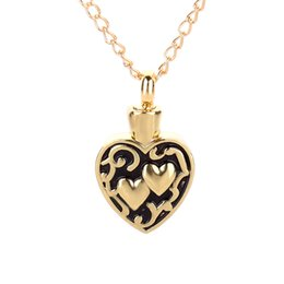 Wholesale Cremation Jewelry Necklace Mom - Memorial Necklace For Ashes Gold Heart Cremation Pendant Jewelry Keepsake For Mom Dad Sister Grandma Aunt Wife Daughter