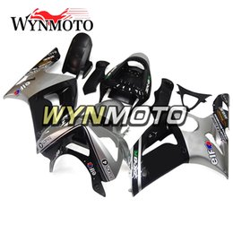 Wholesale Zx6r Silver Black - Silver Black Fairings for Kawasaki ZX-6R ZX6R 2003-2004 03 04 ABS Plastics Injection Plasrics Motorcycle Fairing Kit Bodywork Body Frames