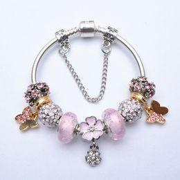Wholesale Pink Tins - 2016 Fashion European DTY Charms Bracelets Bangles Pink Crystal Beads Fit Pandora Friendship Charm Bracelets For Women