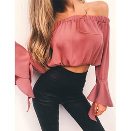 Wholesale Chiffon Ruffled Off Shoulder Top - 2017 Women Chiffon Blouses With Off Shoulder Slash Neck Elegant Shirts Sexy Tops For Women Tops Clothing Ruffle Sleeve Blouse Clothes