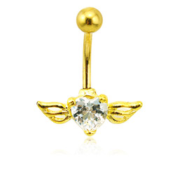 Wholesale Gold Rhinestone Wings Ring - Fashion Gold Plated Belly Button Rings 316L Stainless Steel Barbell White Crystal Heart Wing Navel Piercing Jewelry