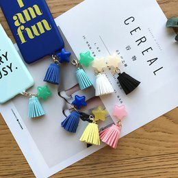 Wholesale Diy Phone Jewelry Accessories - Korean fashion candy color tassel star phone shell pendant material DIY jewelry accessories phone pendant ornaments cute
