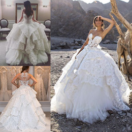 Wholesale Pnina Tornai Ball Gown Dresses - Luxury Lace 2016 Wedding Dresses Beaded Pearls Tiered Sweetheart Backless Bridal Gowns Sweep Train Pnina Tornai Plus Size Wedding Dress