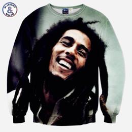 Wholesale Bobs Styles - Hip Hop Fashion music style Men's 3d sweatshirts tops print Musician Bob Marley slim casual hip hop hoodies pullovers