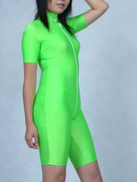 Wholesale Black Full Unitard - Unisex Lycra Spandex Unitard Green Zentai Catsuit with Front Zipper