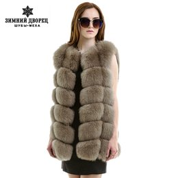 Wholesale Ladies Real Leather Jackets - New Fashion Winter Lady Natural Fox Fur Vest Women's Real Genuine Fur Leather Jacket Overcoat Girl's Fox Fur Vest Coat