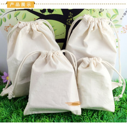 Wholesale Drawstring Cotton Pouch - 130g m2 100% Cotton organic natural cotton Bags drawstring pouches sustomize logo & size