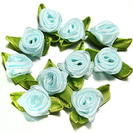Wholesale Blue Flower Hair - 15% off! 500pcs  Small Mini Satin Ribbon Rose Flowers artificial rose flower Wedding Decoration Sewing Appliques DIY for Home Party 9 colors