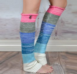 Wholesale Colorful Knit Leggings Women - New Winter Women Leg Warmer Buttoned Colorful Knit Boot Cuff For Female Boho Pattern Trim Ms. Leggings Boots Knee High Gradient
