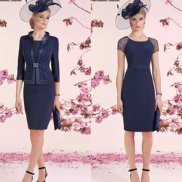 Wholesale Short Satin Wedding Jackets - Ronald Joyce 2017 Beads Mother Of The Bride Dresses With Jacket Short Sleeve Wedding Guest Dress Sheath Navy Blue Mothers Formal Gowns