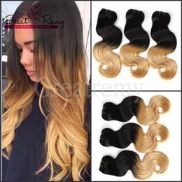 tinte para el cabello Rebajas Greatremy® Ombre Hair Extensión del pelo humano peruano Wave Ombre Dip Dye Dos tonos # 1B / # 27 Armadura del pelo Trama 8A 3pcs / lot gota Envío