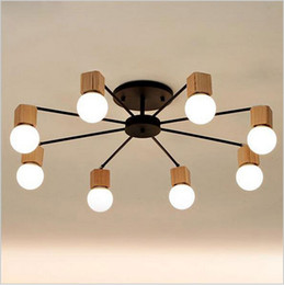 Wholesale children study - Modern Minimalist LED ceiling lights chandeliers wood AOK ceiling lamp living room bedroom children room ceiling lamp study lighting fixture