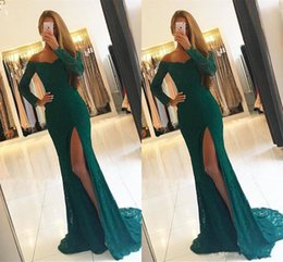 Wholesale Slim Homecoming Dresses - Sexy Front Side Split Lace Prom Dresses Party Gown 2018 V Neck Long Sleeve Slim Black Girl African Evening Homecoming Formal Wear