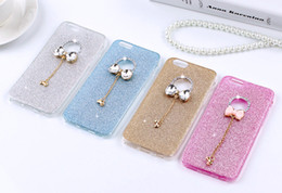 Wholesale Iphone Diamond Gel Case - 3D Butterfly Bowknot Cute Luxury Bling Glitter Diamond Rhinestone Pendant Soft TPU Gel Case For iPhone 5 5S SE 6 6S Plus 6Plus iPhone6