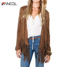 Wholesale Open Sweater For Women - Wholesale- Vancol 2016 Fashion Europe Fall Winter Fringed Hem Band Long Sleeve Cardigan Sweater Coats for Women Short Female Cardigan Coat