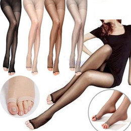 Wholesale Sheer Black Pantyhose - Wholesale-1 Pair New Sale Women Fashion Hot Open Toe Sheer Ultra-Thin Tights Pantyhose Stocking 3 Colors