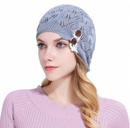 Wholesale Wool Lace Yarn - 2018 New Arrival Knitted Hat Gorros Women Hat Leaves Lace Button Wool Warm Hats Beret Hedging Cap Winter Hat Women Beanie Caps