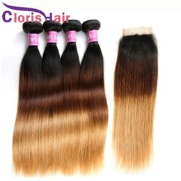 human hair extensions blonde highlights Promo Codes - Straight Ombre Weaves Malaysian Virgin Human Hair 4 Bundles With Lace Closure Highlight Blonde Ombre Extensions And Top Closures T1B 4 27