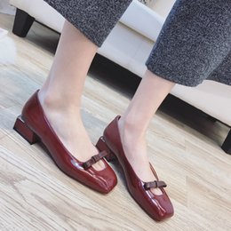 Wholesale high class dresses - Sapatos feminino high class summer autumn bowtie burgundy color top quality 4cm heel women dressing shoes YonDream-251