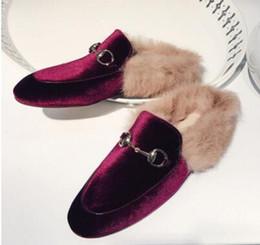 Wholesale Female Toe - 2016 Fashion Women Real Fur Shoes Genuine Leather Womens Slipper Flats Female Casual Slip On Loafer Flats For Women Cozy Shoes,size33-42