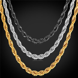 Wholesale Stainless Silver Chains - U7 Gold Plated Twist Chain Necklace Bracelet Fashion 18K Gold Plated Stainless Steel Gold Chains for Men Perfect Necklaces Gifts GN2173