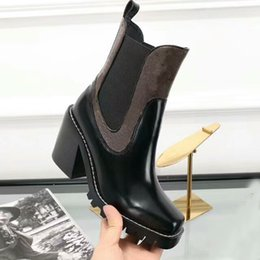 Wholesale High Heeled Platform Boots - Fashion New Womens Knight Boots Cowboy Shoes Platform Ankle High Heel Boots Genuine Leather Designer Luxury Winter Black Brown Shoes SZ35-40