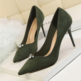 Wholesale Platfrom Pumps - 6 colors Lady OL single shoes sexy rhinestone Nude high heesl pumps pointed toe thin heel party platfrom shoes 9222-1