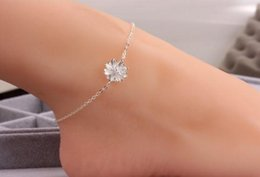 Wholesale Wholesale Anklet Charms - Sterling silver 925 women anklets womens jewelr flower ankle bracelets charms for bracelets